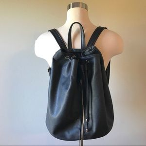 Perforated Black Faux Leather Drawstring Backpack